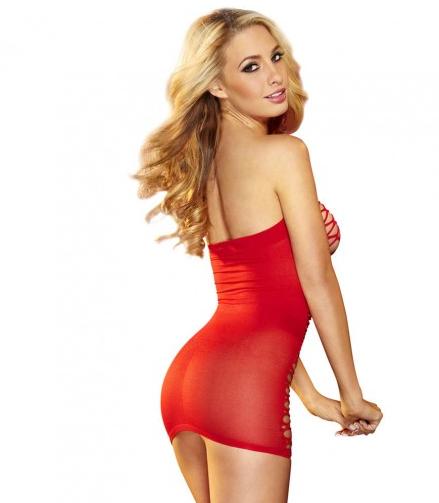שמלת רשת מיני אדומה